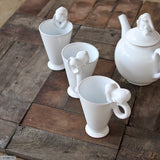 Bunny Mugs handmade at the Ceramix Pottery in South Africa from Terracotta Clay & Glazed White.