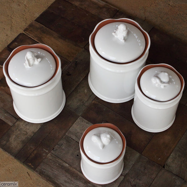 Bunny Canisters in Terracotta Clay glazed White. Handmade in South Africa by Ceramix.