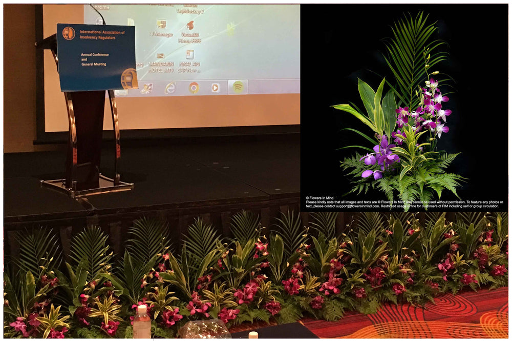 floral support for any meeting customised to any stage height
