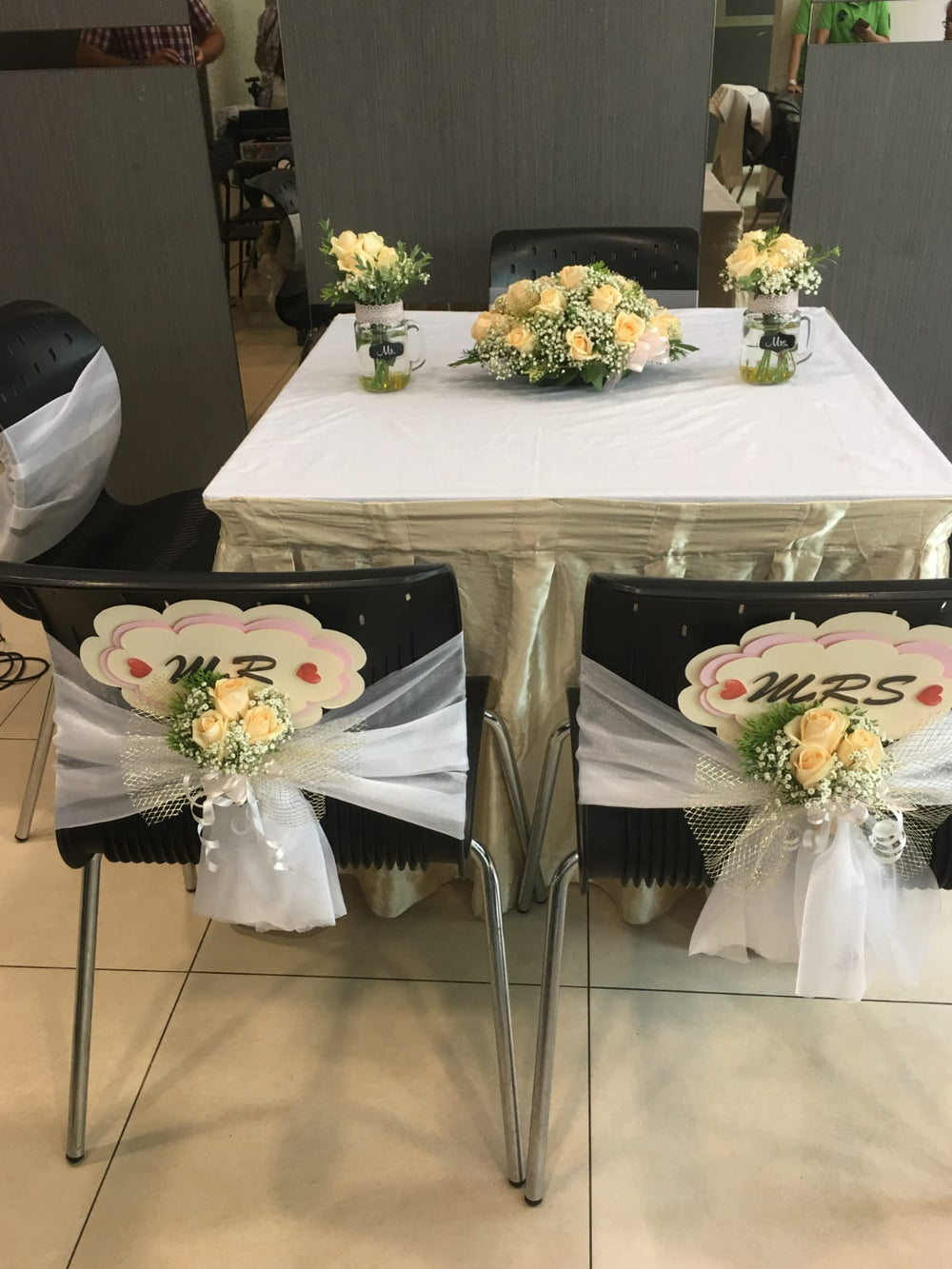 wedding flowers and wedding chair decorations