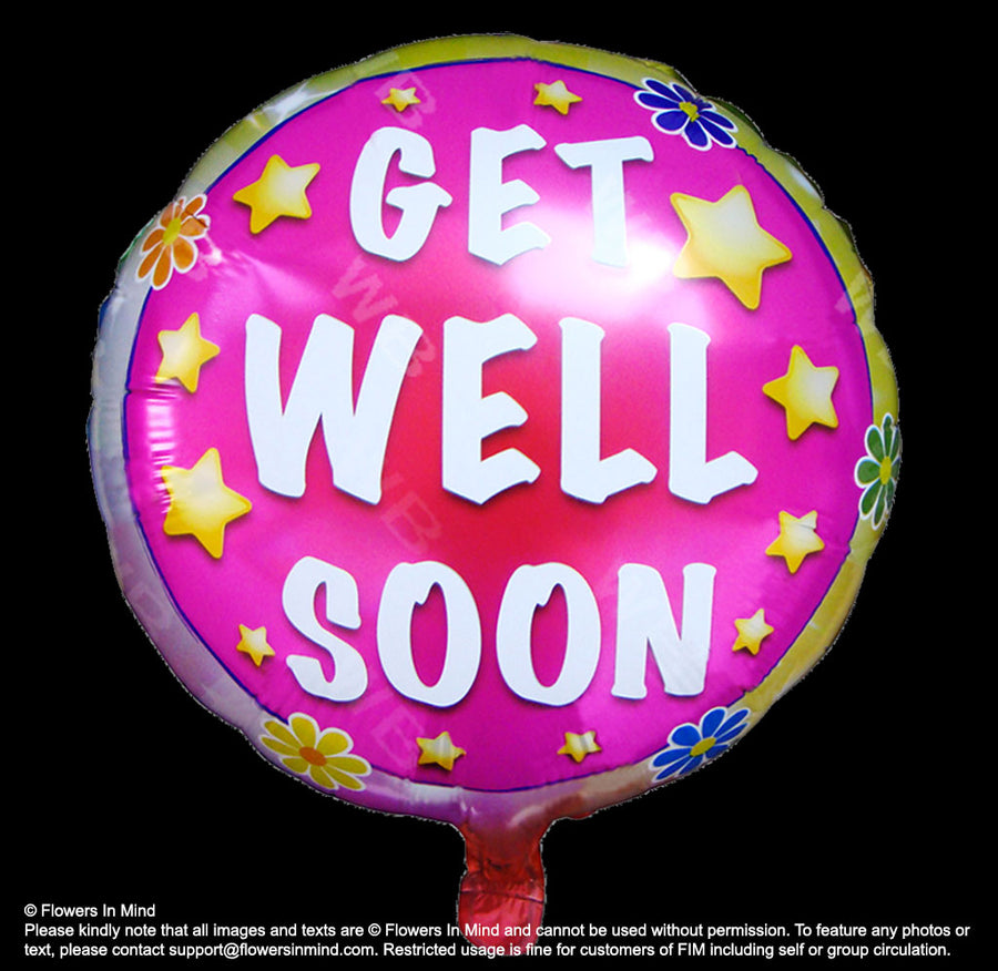"1 X 18"" Helium Get Well Balloon_Free Delivery"
