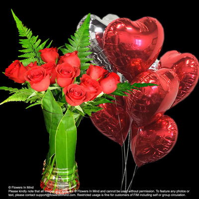 Flowers with helium balloon Valentine day best gift (BHB01) - Flowers-In-Mind