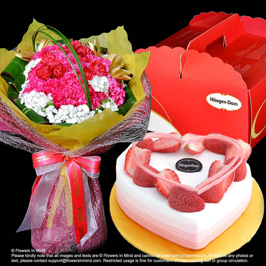 Carnation Hand Bouquet with Blushing Heart Ice-Cream Cake from (Häagen-Dazs) - Flowers-In-Mind