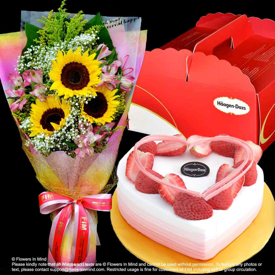 FLOWERS WITH ICE CREAM CAKES_BLUSHING HEART from (Häagen-Dazs) - Flowers-In-Mind