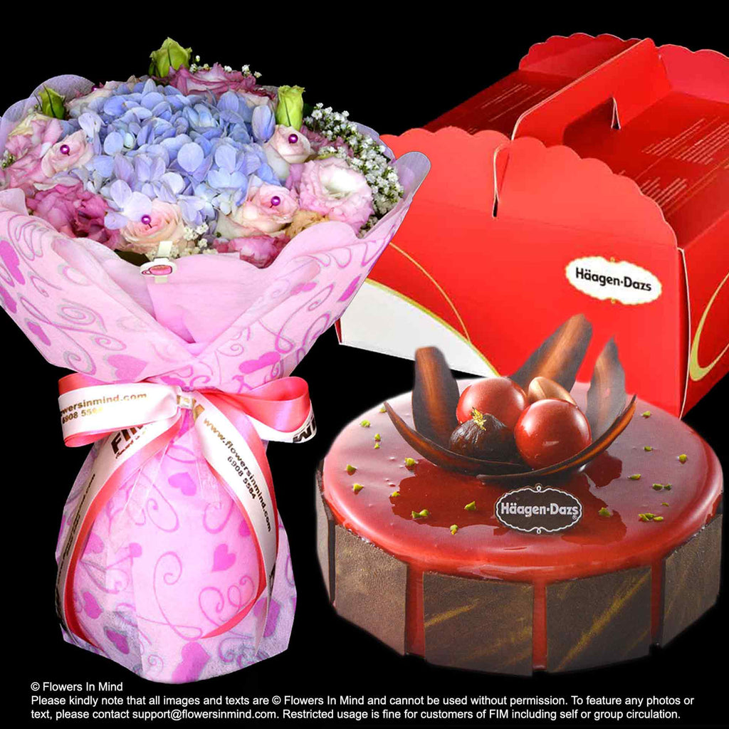 ICE CREAM CAKE LOVE MOMENT from Haagen Dazs with flowers delivery ...