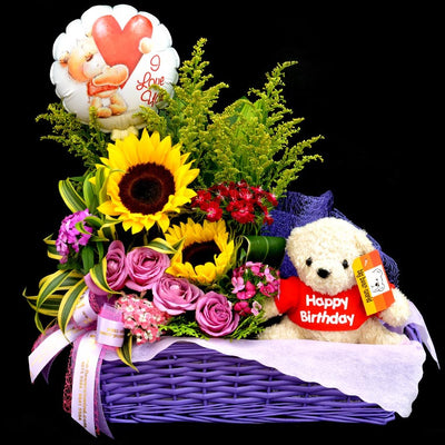 Choice of Fullerton Cakes With Gift Flower Basket (CD04) - FLOWERS IN MIND