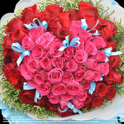 Hand Bouquet of 99 roses (HB129) - Flowers-In-Mind