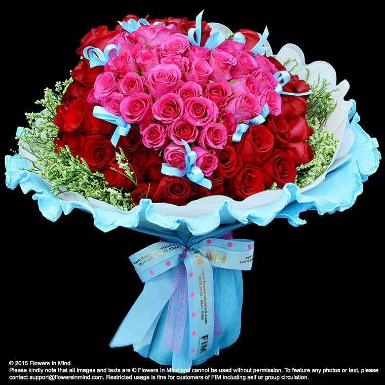 Hand Bouquet of 99 roses (HB129) - FLOWERS IN MIND