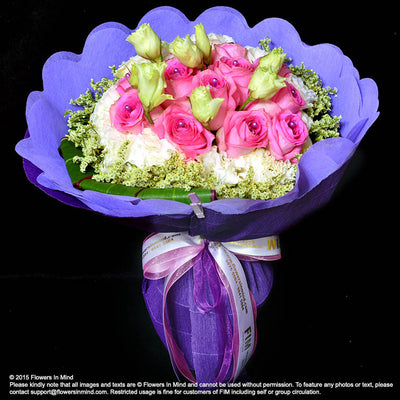 Bouquet of Roses and Eustomas (HB153) - Flowers-In-Mind