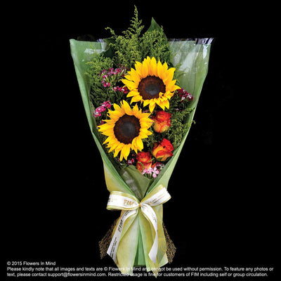 Bouquet of Roses & Sunflower - Flowers-In-Mind