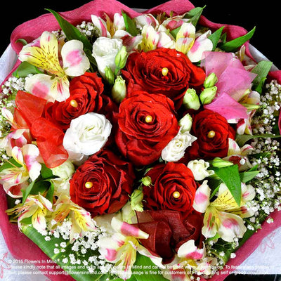 Bouquet of Roses, Eustomas and Alstroemeria (HB196) - Flowers-In-Mind