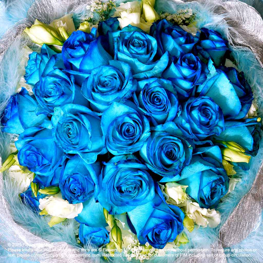 Bouquet of Blue Roses with Eustomas (HB197) - Flowers In Mind