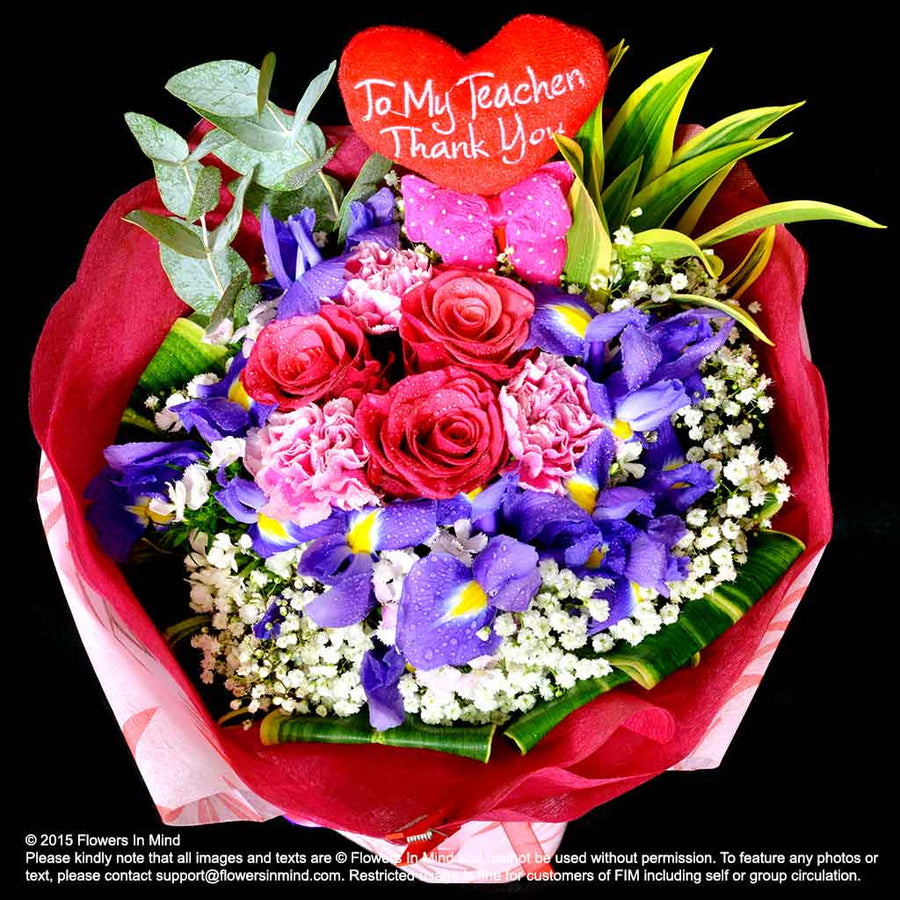 Bouquet of Roses and Carnations (HB226) - Flowers-In-Mind