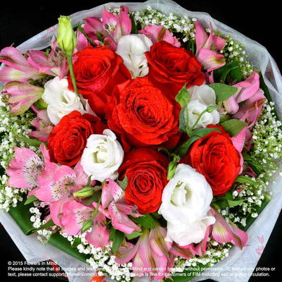 Bouquet of Roses, Eustomas & Alstroemeria (HB237) - FLOWERS IN MIND
