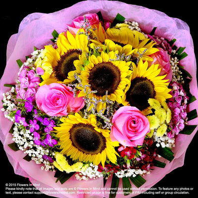 Bouquet of Sunflower & Roses (HB256) - Flowers-In-Mind