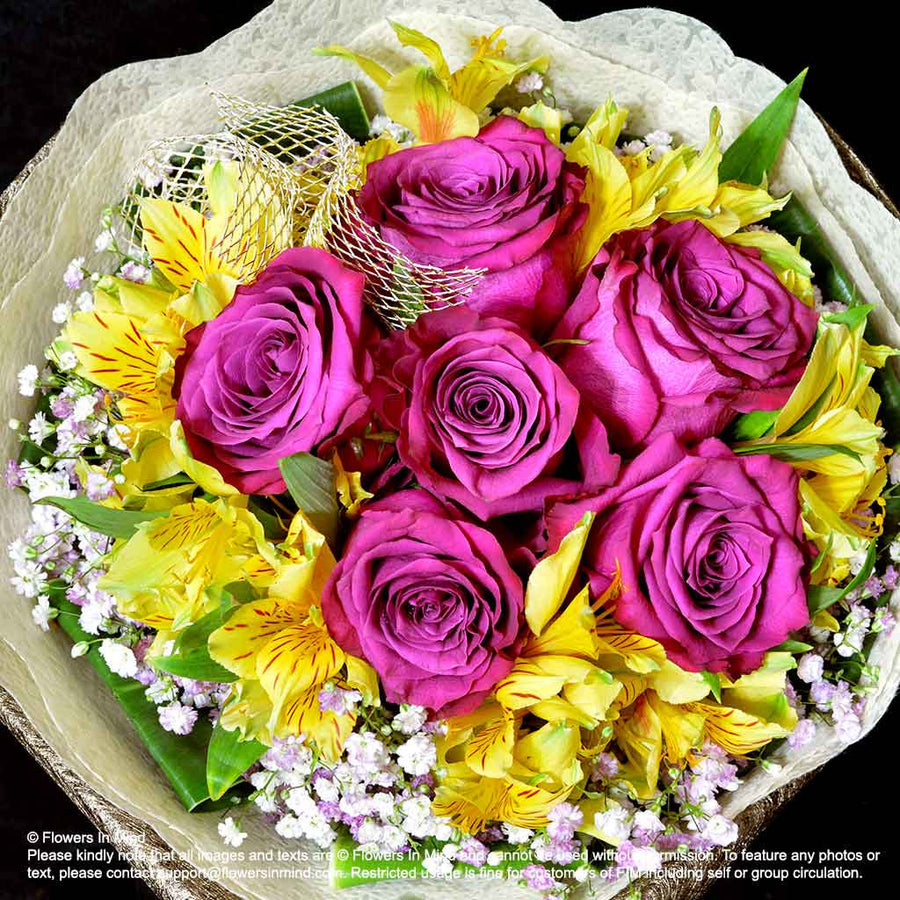 Bouquet of Roses and Alstroemeria (HB283) - Flowers-In-Mind