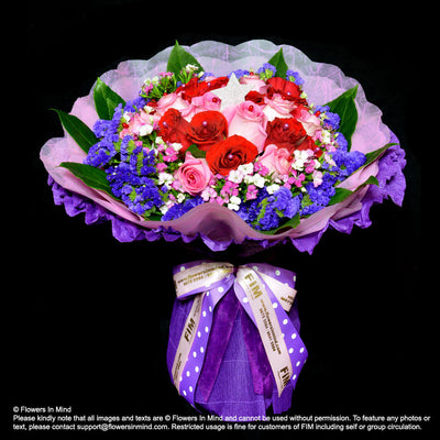 Hand Bouquet of Roses (HB287) - Flowers-In-Mind