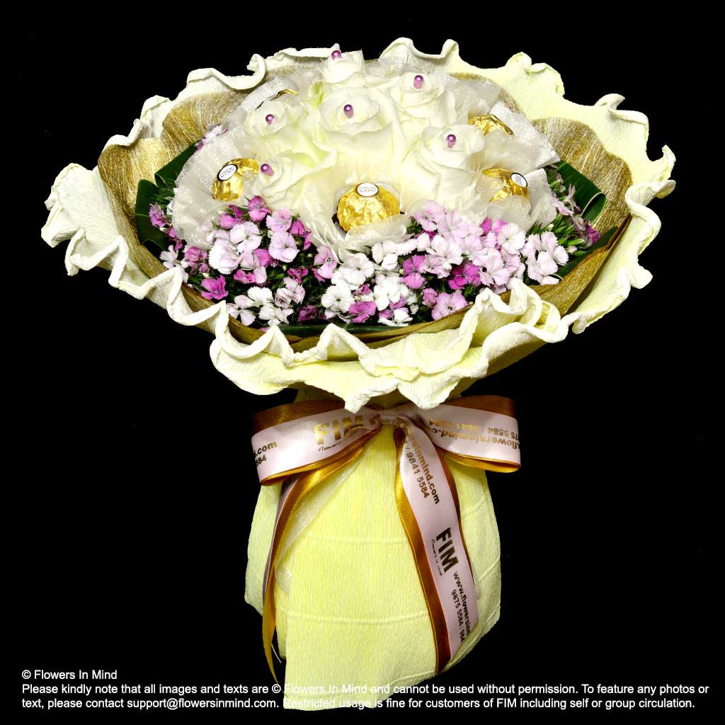 Roses and Rocher Hand Bouquet (HB298) - FLOWERS IN MIND
