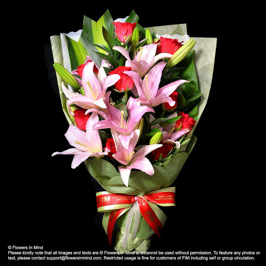 Bouquet of Roses & Lilies (HB307) - Flowers-In-Mind