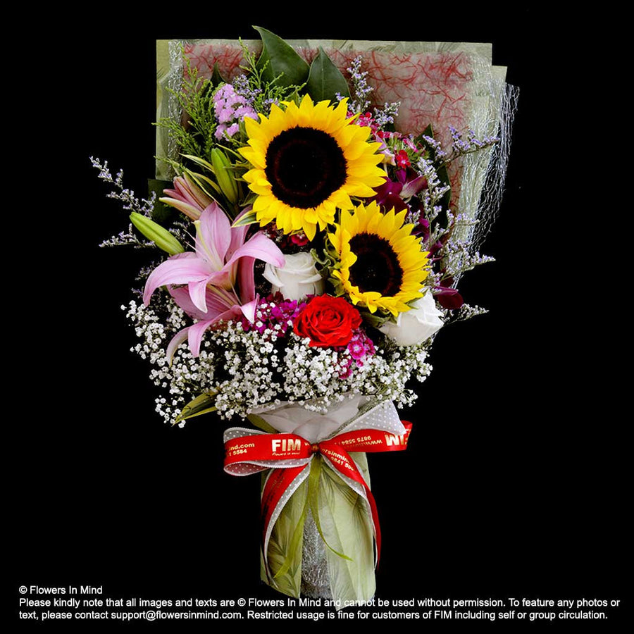 Bouquet of Sunflower, Roses & Lilies (HB309) - Flowers In Mind