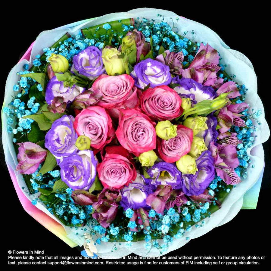 Bouquet of Roses, Eustomas & Alsteroemeria (HB317)