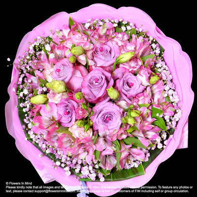 Bouquet of Roses, Eustomas & Alsteroemeria (HB320) - Flowers-In-Mind