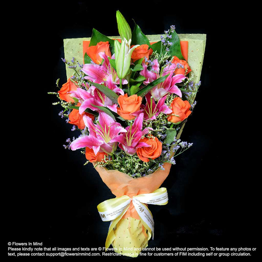 Bouquet of Roses & Lilies (HB321) - Flowers-In-Mind