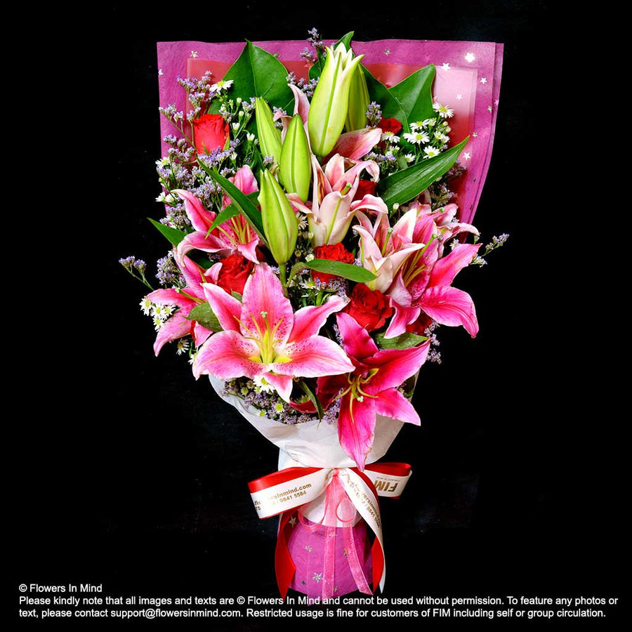 Bouquet of Roses & Lilies (HB322) - Flowers-In-Mind