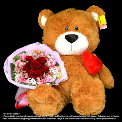 Flowers and Bear (HB362) - Flowers-In-Mind