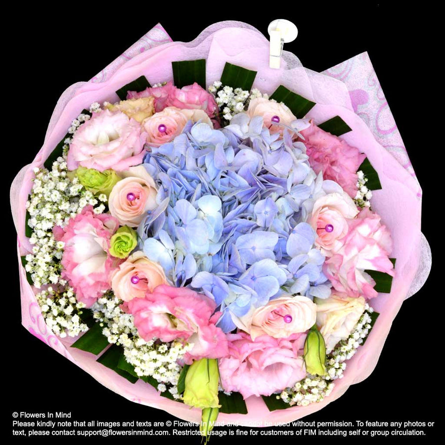 Bouquet of Hydrangea, Roses and Eustomas (HB383) - Flowers-In-Mind