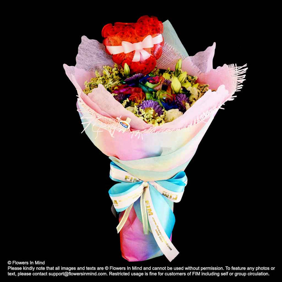 Bouquet of RAINBOW Roses and Eustomas (HB402) - Flowers-In-Mind