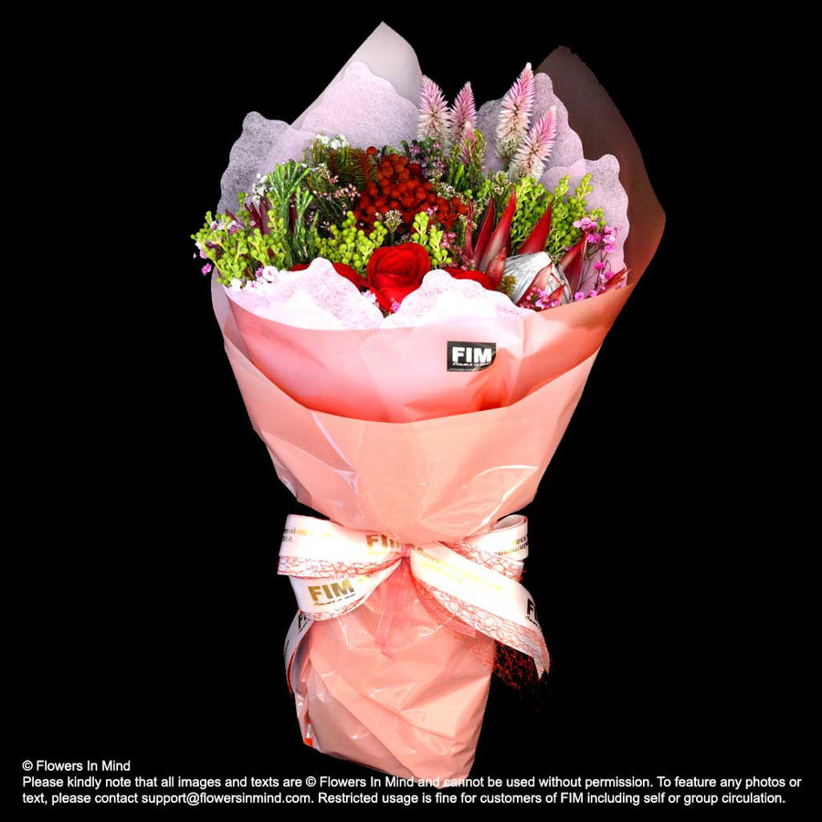 Bouquet of Hunter Mix and Roses (HB405) - Flowers-In-Mind