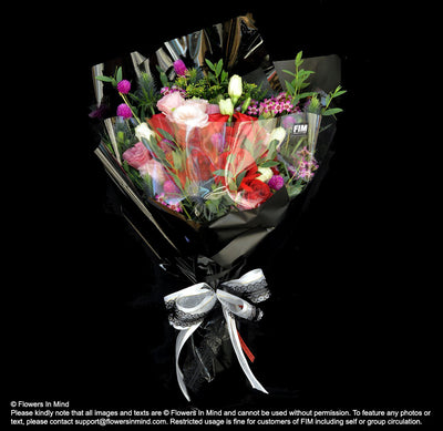 Bouquet of Hunter Mix and Roses (HB420) - Flowers-In-Mind