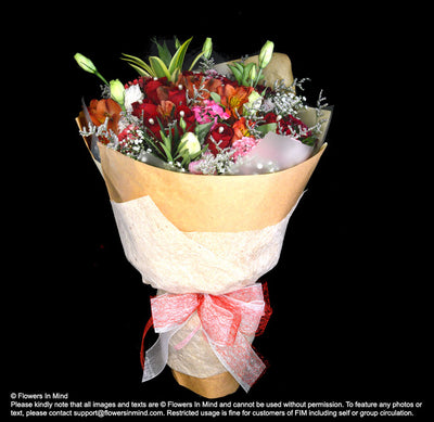 Rustic Bouquet of Roses and Eustomas (HB422) - Flowers-In-Mind