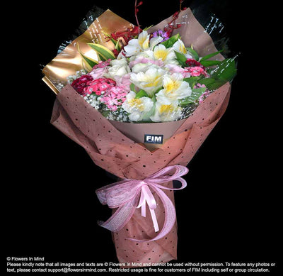 Mix Bouquet of Roses (HB442) - Flowers-In-Mind