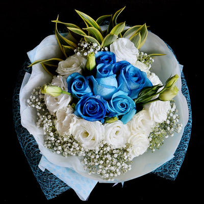 Bouquet of Blue Roses and White Eustomas (HB65) - Flowers-In-Mind