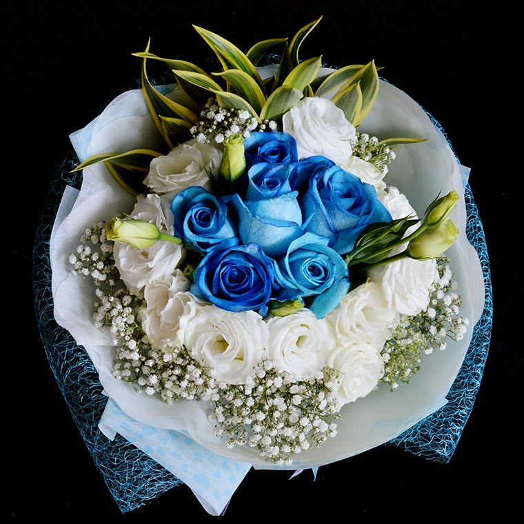Bouquet of Blue Roses and White Eustomas (HB65)
