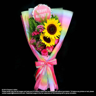 Bouquet of Roses & Sunflower (HB87) - Flowers-In-Mind