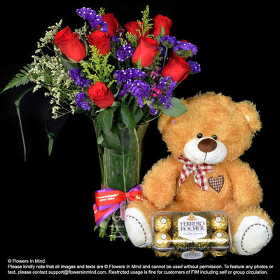 Flowers, Bear and Chocolate (HP285) - Flowers-In-Mind