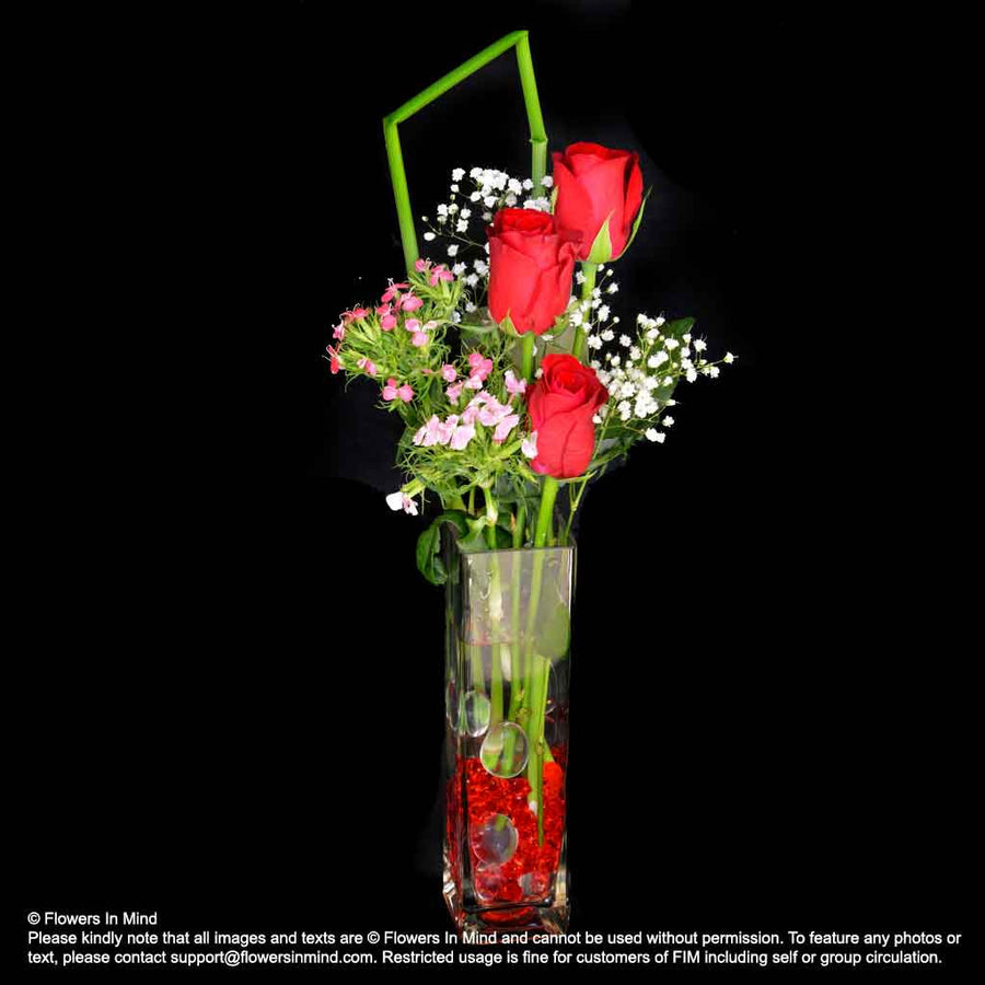 TABLE ARRANGEMENT OF RED ROSES (TA490) - Flowers-In-Mind