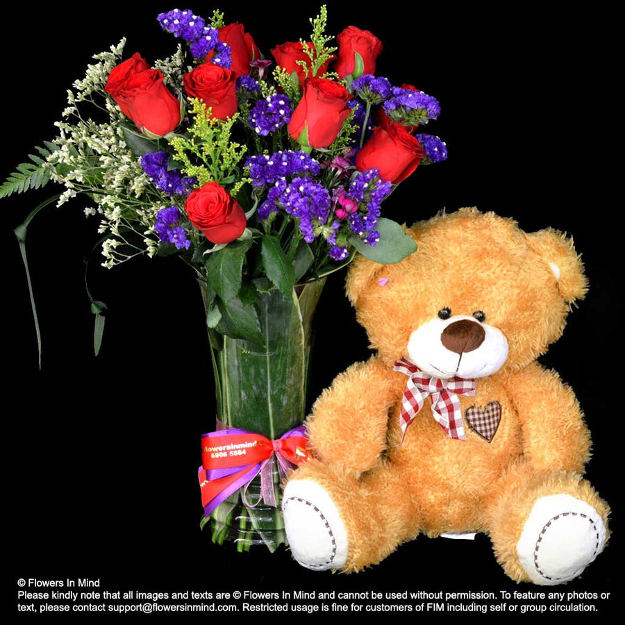 BEAR WITH ROSES IN VASE (TA498) - Flowers-In-Mind