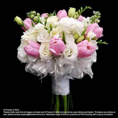 Bridal bouquet Tulips with Eustomas (WD157) - Flowers In Mind