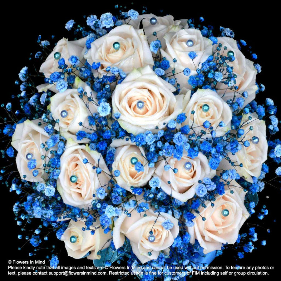 White Rose with Blue Gypsophila Bridal Bouquet in natural stem (WD165) - Flowers In Mind