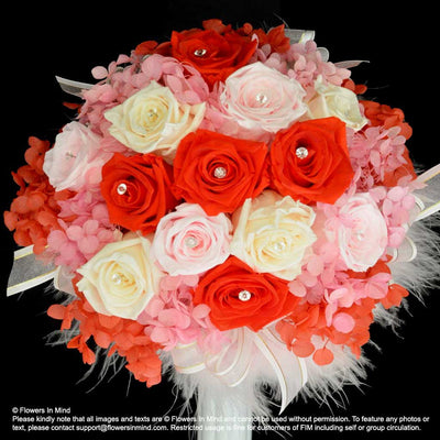Preserved Flowers Bridal bouquet in bridal holder (WD175) - Flowers-In-Mind