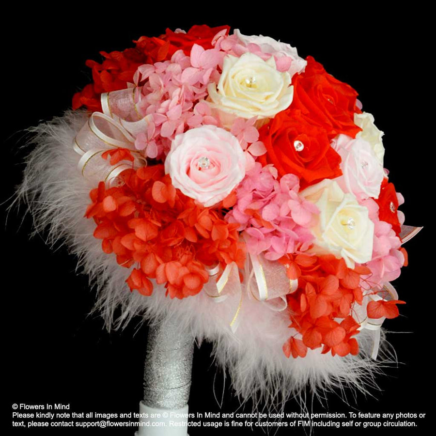 Preserved Flowers Bridal bouquet in bridal holder (WD175)