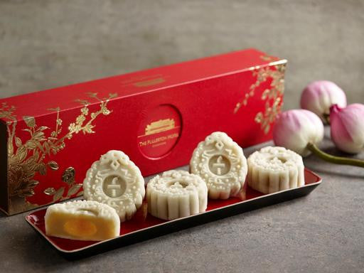 THE FULLERTON WHITE LOTUS SEED PASTE WITH EGG YOLK SNOW SKIN MOONCAKES