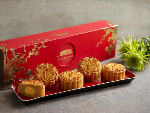 THE FULLERTON WHITE LOTUS SEED PASTE WITH SINGLE YOLK BAKED MOONCAKES