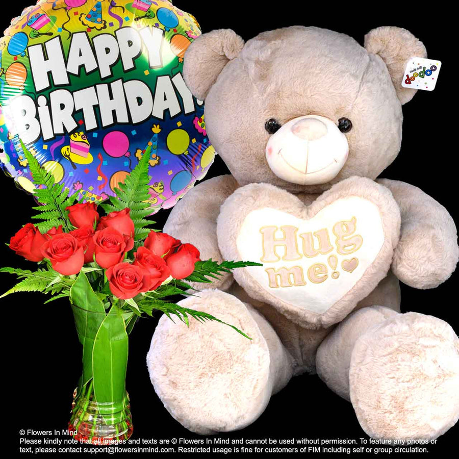 BEAR, HELIUM BALLOON WITH FLOWERS (BHF21) - Flowers-In-Mind