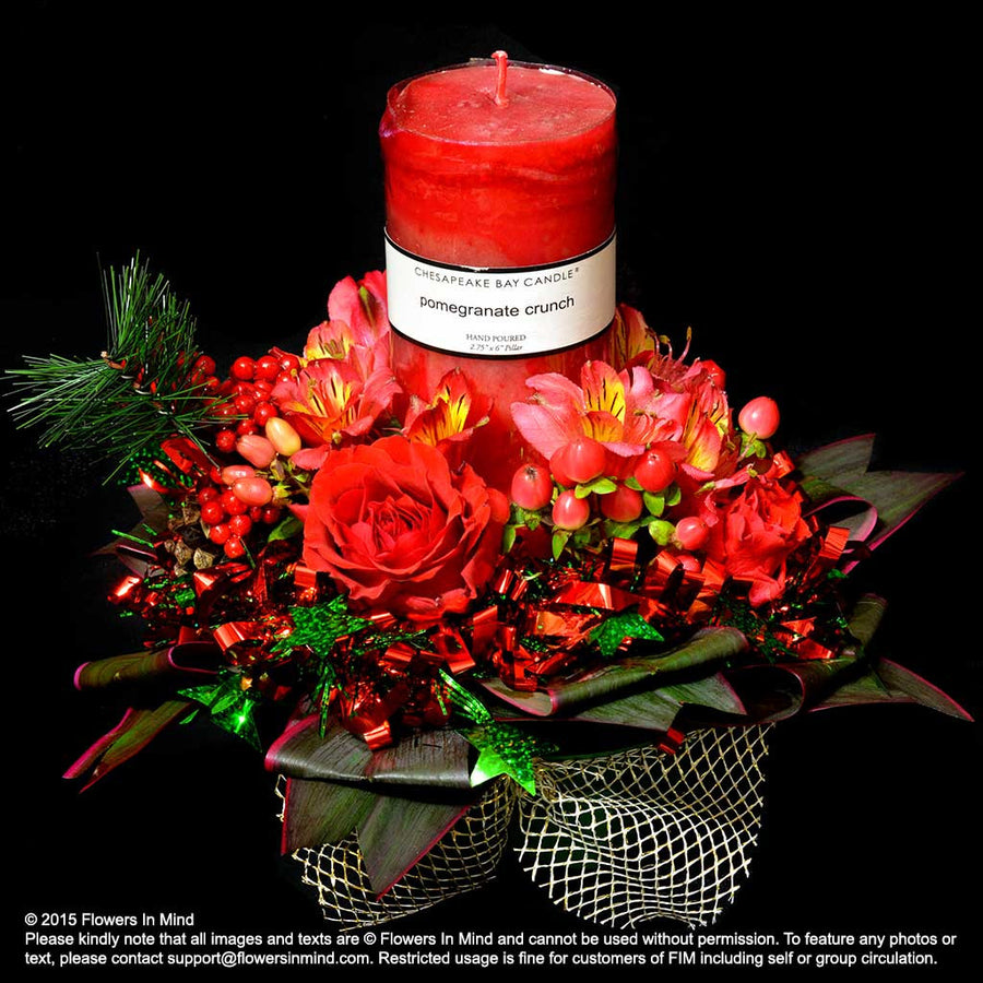 Classic Red Christmas Table Arrangement (XMAS13)