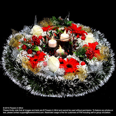 Christmas Table Arrangement (XMAS29) - Flowers-In-Mind